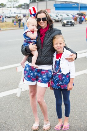 woman and children, festive apparel, 4th of July, Bandon, Oregon