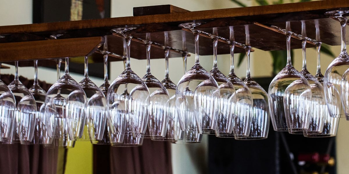 wine glass rack, The Loft Restaurant, Bandon dining