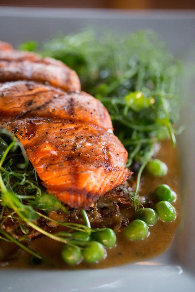 Salmon and vegetables, The Loft Restaurant, Bandon dining