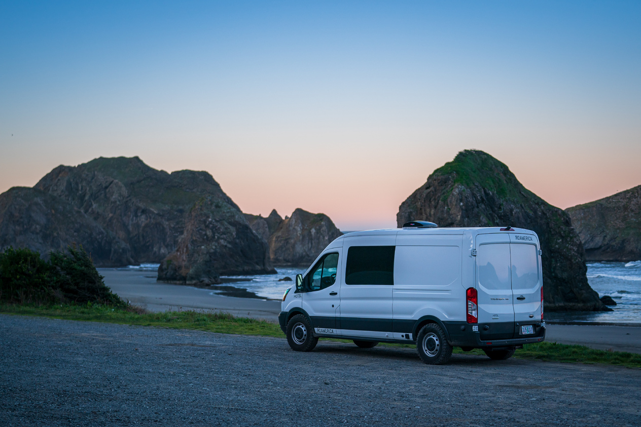 Van by Beach