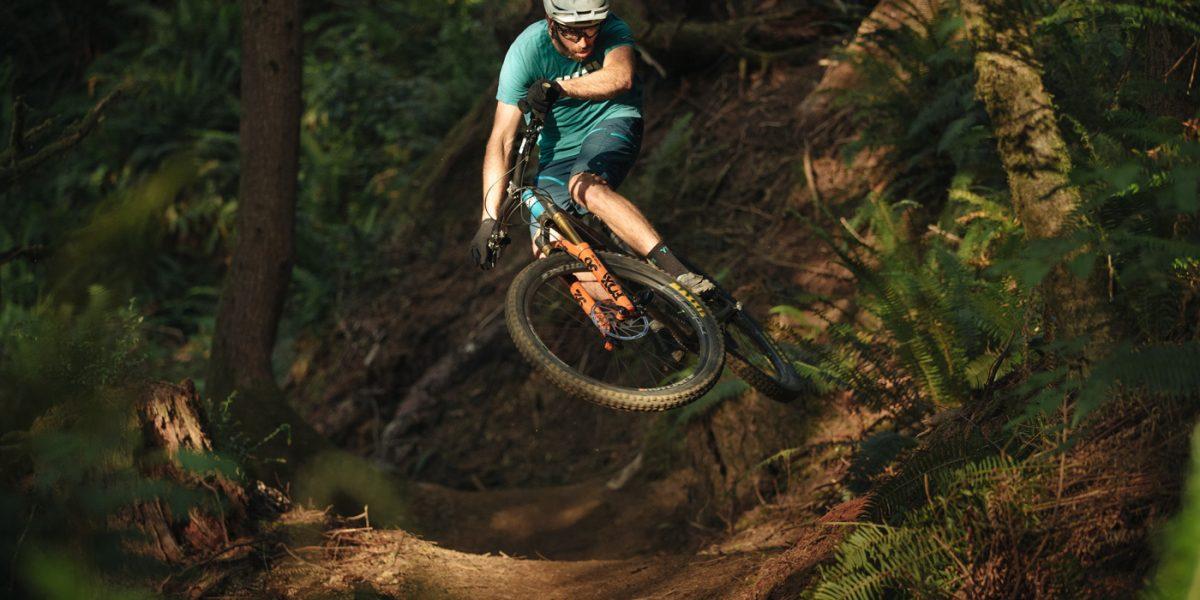 cyclist mountain bike trail